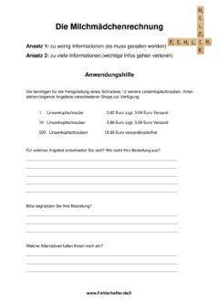 Milchmädchenrechnung_Arbeitsblatt